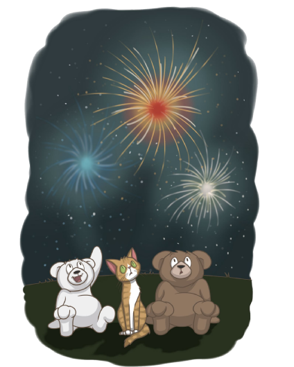 Teddy bears watching fireworks