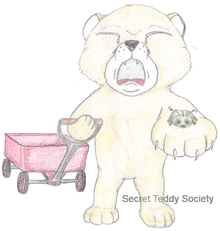 Crying teddy bear with his wagon and a bug that is adorable.