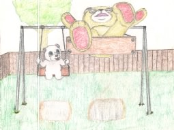 Drawing of two teddy bears playing on a swingset.