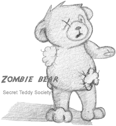 Zombie bear teddy bear who wants to be normal again.